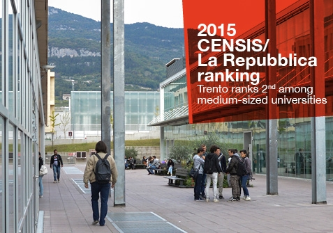 2015 Censis/La Repubblica Ranking: Trento Ranks 2ND